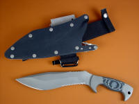 """Kneph"" obverse side view in ATS-34 high molybdenum stainless steel blade, 304 stainles steel bolsters, Black and gray G10 fiberglass epoxy composite handle, locking kydex, aluminum, stainles steel sheath with full accessory package"
