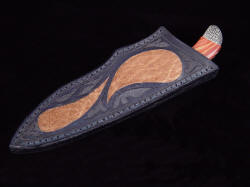 """La Cocina"" sheathed view. Sheath is deep and protective, inlaid with rare hippo skin and hand-carving and tooling"