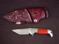 """Last Chance Light,"" obverse side view in 440C high chromium stainless steel blade, 304 stainless steel bolsters, Australian Snakeskin Jasper gemstone handle, hand-carved leather horizontal belt sheath"