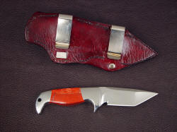 """Last Chance LT"", reverse side view. Sheath has dual belt clips for horizontal sheath orientation, with easy removal of sheathed knife."