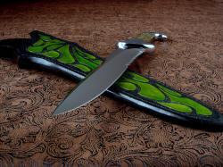 """Macha Navigator EL"" point view. Knife has long, large, and substantial blade, beautifully hollow ground and polished, with elegant and functional design"