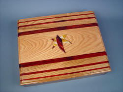 """Macha Navigator"" case in Red Oak, Redheart Hardwood, Mookaite Jasper gemstone, top view"