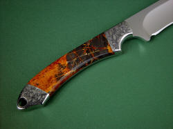 """Magdalena Magnum"" reverse side view. Handle is tough, hard, and polished Pilbara Picasso Jasper gemstone from Australia"