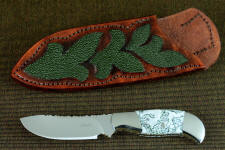 """Menkar"" obverse side view in CPM154CM powder metal technology tool steel blade, 304 stainless steel bolsters, Dendritic Agate gemstone handle, hand-carved, hand-dyed leather sheath inlaid with green rayskin"