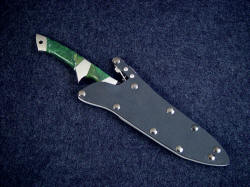 """Minuteman"" sheathed view. Knife is easily accessible yet well protected in the locking sheath"