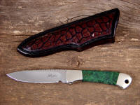 """Mirach"" ATS-34 high molybdenum stainless steel blade, nickel silver bolsters, Green Migmatite Granite gemstone handle, cow stomach inlaid in hand-carved leather sheath"