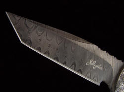 """Morta"" pattern welded twist damascus blade in O1 and A36 steels, deeply hollow ground, etched, and blued"