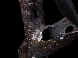 """Morta"" knife stand detail, cast bronze by lost wax process, hand carved detail"