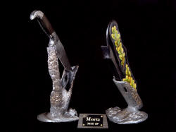 """Morta"" knife sculpture. Stands are cast by lost wax process, without copies"