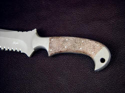 """Nemean"" obverse side handle detail. Coarse Canvas Micarta is tough, strong, waterproof, and permanent"