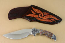 """Orion"" obverse side view in 440C high chromium stainless steel blade, hand-engraved 304 stainless steel bolsters, Rio Grande Agate gemstone  handle, hand-carved leather sheath inlaid with frog skin"