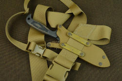 """PJLT"" fitted on Sternum harness plus, in 2"" and 1"" nylon webbing frame, Acetyl quick release buckles, rigidly clamped to sheath"