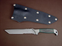 """PJLT"" custom tactical combat knife, obverse side view, shown with tension fit kydex, aluminum, and nickel plated steel sheath"