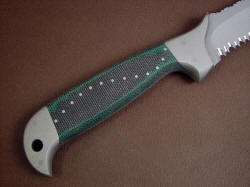 """PJLT"" fine custom tactical knife, reverse side handle view. Handle is layered green and black canvas reinforced micarta phenolic for high durability"