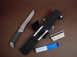 """PJLT"" knife, sheath, extender, accessories. Includes diamond pad sharpener, fire steel striker and magnesium block fire starter, as well as all stainless steel mounts and fasteners."