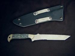 "USAF Pararescue ""PJLT"" Pararescue light combat search and rescue knife: reverse view"