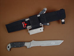 """PJ"" fine handmade custom CSAR tactical knife, reverse side view showing custom engraving and locking sheath belt loop extender with accessories"