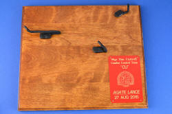 """PJSK Viper"" commemorative, retirement plaque is cherry-stainled solid ash hardwood, with steel hangers and engraved scarlet lacquered brass commemorative plate"