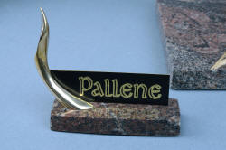 """Pallene"" custom handmade knife sculpture, nameplate detail in engraved black lacquered brass, cast bronze, Paradiso classico granite polished  base"