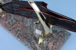 """Pallene"" custom handmade knife sculpture, base detail. Paradiso Classico Granite is a favorite of strength, color, texure and durability"
