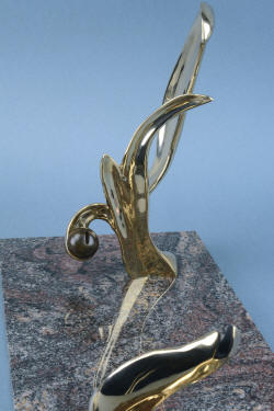 """Pallene"" custom handmade knife sculpture, hand-cast silicon bronze component detail"