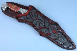 """Pallene"" custom handmade knife sculpture, sheathed view. Sheath is deep and protective, with a high back and elaborate inlays and hand-stitching"