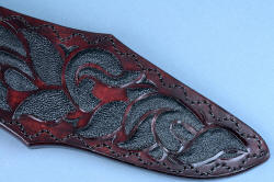 """Pallene"" custom handmade knife sculpture, sheath front, lower tail area detail. Meticulous inlay of tough rayskin in leather in design form of engraving."