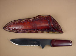"""Paraeagle"" Pararescue knife, sharpened and new sheath in heavy leather shoulder"
