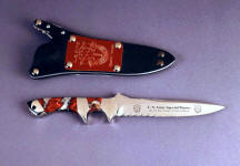 """Patriot"" Special Forces Army commemorative in etched 440C high chromium stainless steel blade, 304 stainless steel bolsters, Cherry Blossom Jasper gemstone handle, locking kydex, aluminum, stainless steel sheath with engraved red lacquered brass flashplate"