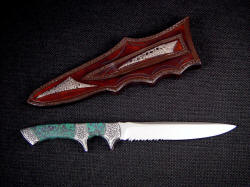 """Patriot"" reverse view. Note frog skin inlays on reverse of sheath and in belt loop"