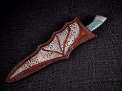 """Patriot"" sheathed view. Fine Frogskin inlays match the pattern on the gemstone. Frog is rare and beautiful inlaid in heavy leather shoulder, dyed in russet"