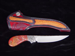 """Pecos II"", Reverse side view. Note sharkskin inlays in hand-carved leather sheath, even on belt loop"