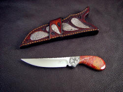 """Pecos II"" obverse side view with alternate frog skin inlaid crossdraw knife sheath"