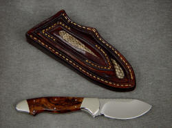 """Pluto"" reverse side view. Sheath back is inlaid with Prairie Rattlesnake skin inlays"