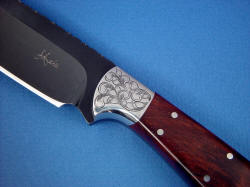 """Rio Grande"" obverse side front bolster detail. Makers mark is diamond engraved in deeplly blued steel blade, note clean choil and cutting edge."