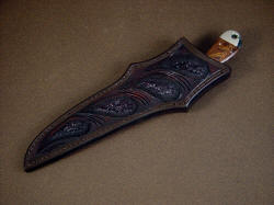 """Sanchez"" sheathed view. Sheath is deep, protective and nicely carved and tooled"