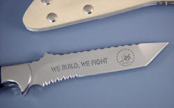 """Seabee"" reverse side blade detail. Note aggressive serrations, nickel plated steel screws securing sheath"