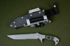 """Taranis"" obverse side view in CPMS30V high vanadium stainless tool steel blade, 304 stainless steel bolsters, Olive/Black G10 fiberglass epoxy composite laminate handle, locking kydex, aluminum, stainless steel sheath with ultimate belt loop extender and accessories"