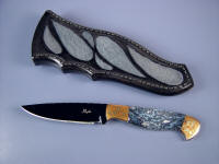 "Fine Handmade Knife: ""Tarazed"" obverse side view: blued O-1 oil  hardening tool steel blade, Mokume Gane bolsters, Agate gemstone handle, Sharkskin inlaid in hand-carved leather sheath"