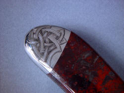 """Tharsis Intense"" reverse side rear bolster engraving detail. Engraving has deep hatch relief  and is permanent"