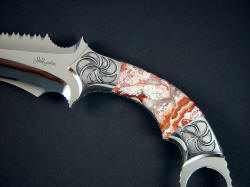 """Titan"" Kerambit, obverse side handle detail. Crazy lace agate is very hard and tough, taking a bright polish. Gemstone has microscopically intricate forms and color"