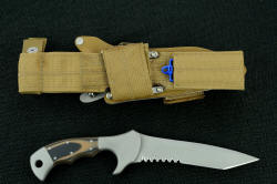 """Uvhash"" reverse side view. Sheath and accessories are all coyote brown to match desert tacitical gear, sheath UBLX has built in diamond sharpener pocket"