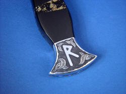 """Vesta"" black rune dagger, obverse side rear bolster engraving detail. Many hours are required to hand-engrave in 304 stainless steel"
