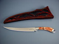 """Volans"" fillet, boning knife: 440C high chromium stainless steel blade, 304 stainless steel bolsters, Antelope Jasper gemstone handle, emu skin inlaid in hand-carved leather sheath"