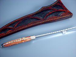 """Volans"" edgework, filework detail. Note graduated filework, dovetailed bolsters and handle scales, fully tapered tang"