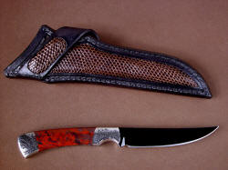 """Wasat"" reverse side view. Note full panel inlays on both sides of sheath, including belt loop"