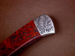 """Wasat"" obverse side rear bolster engraving detail. Fit is extremely close in this knife, details are fine and hand-made by maker."