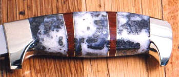 Quartz with pyrite on hidden tang knife handle with bloodwood spacers