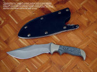 """Hooded Warrior"" sniper's combat knife in bead blasted 440C high chromium stainless steel blade, nickel silver bolsters, canvas micarta phenolic handle, locking kydex, aluminum, stainless steel combat waterproof knife sheath"