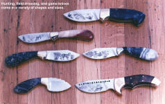 A group of hunting knives representative of work I did in the early 1990's